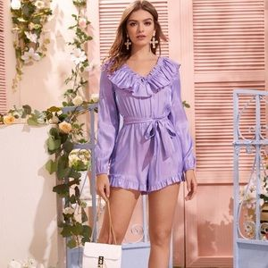 Ruffle Neck Belted Romper
